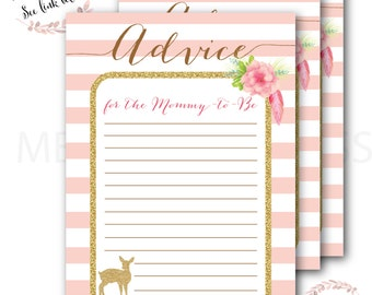 Deer Advice Card // Baby Shower // Advice for the Mommy to Be // Gold // Games // Little Deer //Instant Download // ASHEVILLE COLLECTION