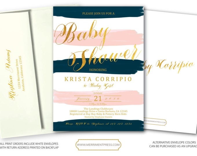 Blush Pink Blue Gold Baby Shower Invitation // Pink and Blue // Navy Blush // Watercolor // Baby Sprinkle // SANTA BARBARA COLLECTION