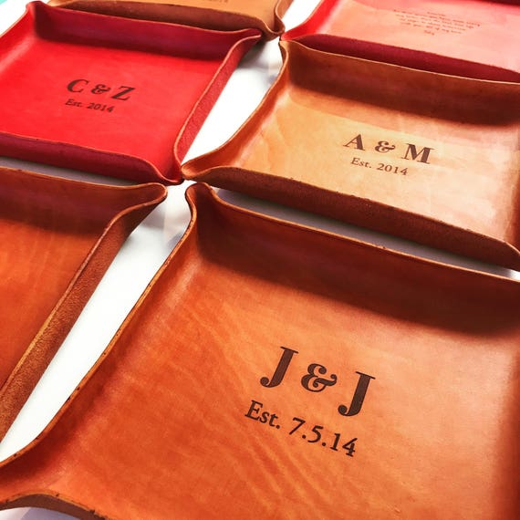 Anniversary Gifts For Her: Custom Leather Trays / Anniversary Gift For Her / 3rd