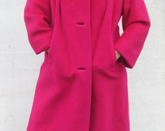 Gorgeous Vintage Hot Pink Cashmere Swing Coat, Funnel Neck