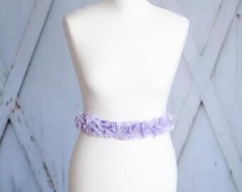 Bridal belt bridal gown belt wedding dress chiffon purple lilac violet AG3