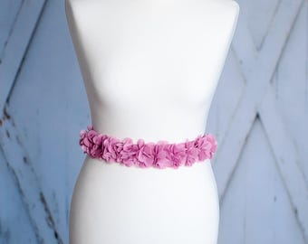 Bridal belt bridal gown belt wedding dress chiffon purple lilac violet AG4