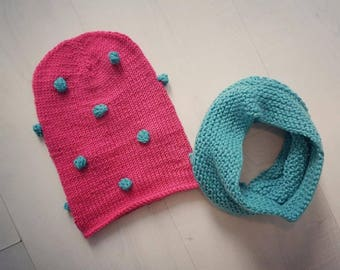 Knitting pattern// Knit hat with puffs and cowl