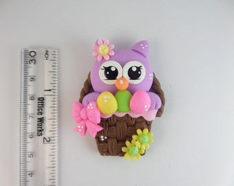 Easter owl basket.  Clay Charm Bead, Scrapbooking, Bow Center, Pendant.