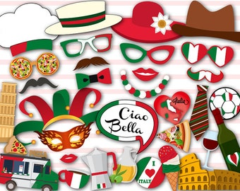 Instant Download Italy Photo Booth Props, Italian Party Photo Booth Props, I Love Italy Photo Booth Props, Italy Travel Party Printable 0046