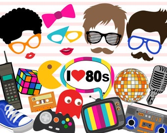 Instant Download 80's Photo Booth Props, 1980s Party Photobooth Props, I love 80s Photo Booth Props, 1980's Era photobooth Prop 0385