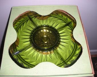 Vintage Olive Green Glass Lazy Susan