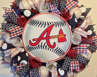 Atlanta Braves wreath, Braves wreath, Atlanta braves decor, Braves decor, Atlanta braves baseball wreath, Atlanta Braves