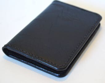 Men's Black Leather Wallet, Small Wallet, Card Wallet, Front Pocket Wallet