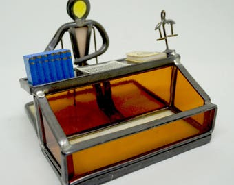 """Lawyer; Business Card Holder; Stained Glass; Approx. 3""""h x 4""""w; Holds Standard Business Cards (2"""" x 3.5"""") Very Unique !!!"""