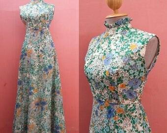 Hippie Maxi Dress Floral Dress 1970s Maxi Dress Boho Dress 70s Dress Summer Dress Vintage Sundress Print Dress Sleeveless Dress Size XS