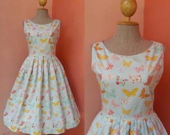 Blue Dress Rockabilly Dress 50s Dress 1950s Dress Pin Up Dress Summer Dress Womens Sundress Tea Dress Print Cotton Dress Pleated Midi Dress