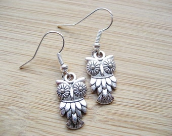 Owl Earrings, Silver Owl Earrings, Silver Charm Earrings, Cute Earrings, Jewellery Gift for Her, UK Novelty Drop, Pierced Earrings