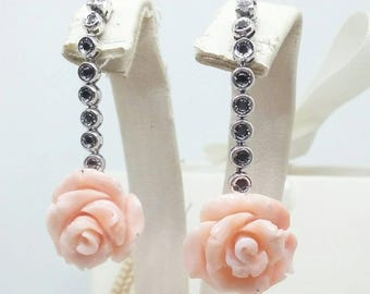 Earrings with coral Roses