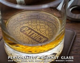 Engraved Whiskey Glasses with Whiskey Stones Whiskey Gift Set