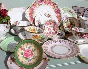Vintage China Mis matched Tea set - 6 trios, cake plate m+s