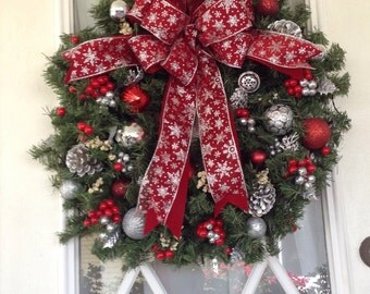 Christmas Wreath, Cordless, Red, Silver, Artificial, Timerd Light, 24 inch, Lighted Wreath, Wreath for Doors. Holiday Wreath, Elegant Wreath