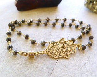 """Double Wrap Rosary Bracelet, 14.5"""" Pyrite Double Wrap Beaded Bracelet with Filigree Hamsa Charm on Wire Wrapped Gold Vermeil Rosary Chain"""