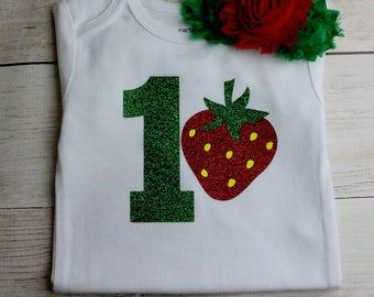 READY TO SHIP! 12 Month Strawberry Birthday Shirt Girl, Strawberry Shirt, Girl Strawberry Shortcake Shirt, Strawberry,  Free Personalization