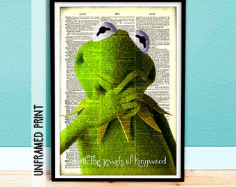 Kermit the Frog - Dream in Green - Muppets Dictionary Page Art - Jim Henson - Gifts under 20 - Muppets - Childrens Decor - Sesame Street