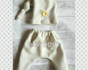 Newborn photography prop outfit. Ready to send. Neutral colour boys set.