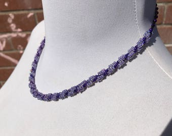 Handcrafted - Twisted Rope Necklace - Woven Beaded Necklace - Glass Seed Beads - Vintage Jewellery - Gift for Her - Purple