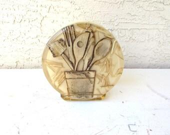 Vintage Acrylic Napkin Holder - Utensil Holder Motif - Mid Century MOD - Beiges - Browns and Golds - Vintage Kitchen -