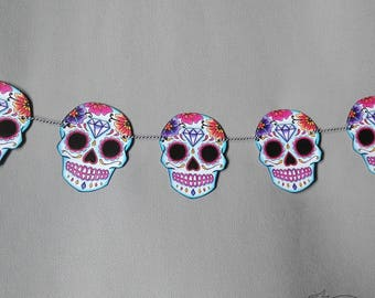 Sugar Skull Bunting Blue Turquoise Wedding Party Decoration Tattoo Rockabilly Party Day of the dead candy skull garland