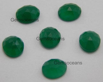 15 Pieces Wholesale Lot Green Onyx Oval Rose Cut Loose Gemstone