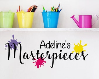 Personalized Masterpieces Decal - Kid's Wall Art - Kids Artwork Gallery - Masterpieces Wall Decal - Playroom Wall Decal - Art Display Decal