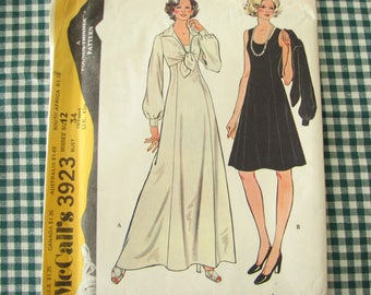 1970s misses princess seams dress, McCalls 3923 vintage dress pattern with bolero, size 12 bust 24, uncut!
