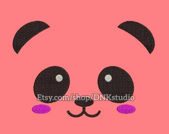 Cute Panda Face Embroidery Design - 5 Sizes - INSTANT DOWNLOAD