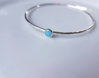 Sterling silver stacking bangle with hammered finish and blue opal. Boho and beach look. Made in Wales, made to order.