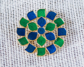 Blue Green and Gold Vintage Brooch