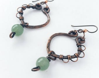 Aventurine & Recycled Copper Lacey Hoops