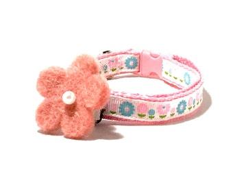 SALE!!! Pink Flower Dog Collar, Pink Flower Cat Collar, Pink Collar with Felt Flower Bow, Collar with Matching Flower Bow, Pink Cat Collar