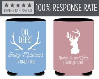 Born to be Wild Baby Shower Can Coolers, Oh Deer Baby is Almost Here Babyshower Beer Can Coolers, Gender Reveal Babyshower Favors (84)