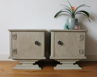 Pair of bedside tables in grey rustic chic style