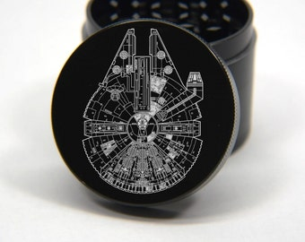 Laser Engraved Herb Grinder - StarWars Millennium Falcon Engraved Design 4 Piece Grinder #175