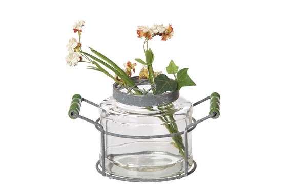 Oval glass jar decorative centerpiece vase flower table shabby