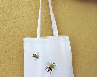 Bee your best self. Tote bag. Hand embroidery. Organic cotton.