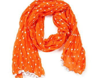 Orange & White Pom Pom Scarf - Originally 15.00