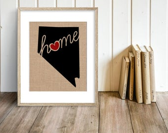 "Nevada (NV) ""Love"" or ""Home"" Burlap or Canvas Paper State Silhouette Wall Art Print / Home Decor (Free Shipping)"