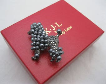 Kenneth Jay Lane KJL Gray Poodle Brooch