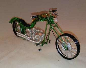 Green motorcycle, handmade motorcycle, wire motorcycle