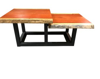 live edge coffee table with modern tiered design solid blood wood