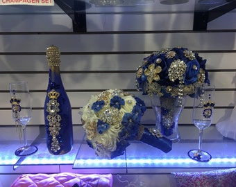 Navy Blue Quinceanera Bouquet and Champagne Set