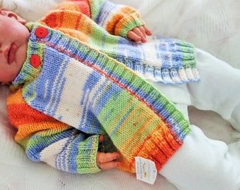 Hand knitted zingy colours baby cardigan/sweater to fit approx 3-9 months or reborn doll approx 22-23""