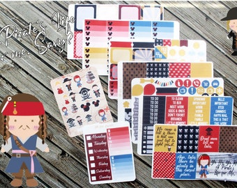 Pirates Life For Me Weekly Planner Stickers Kit - Pirate Planner - Jack Sparrow Stickers - Full Weekly Planner Kit