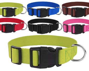 Nylon Dog Collar Side Release Buckle Collars Puppy Small Medium Large Pink Black Red Blue Lime Green Brown